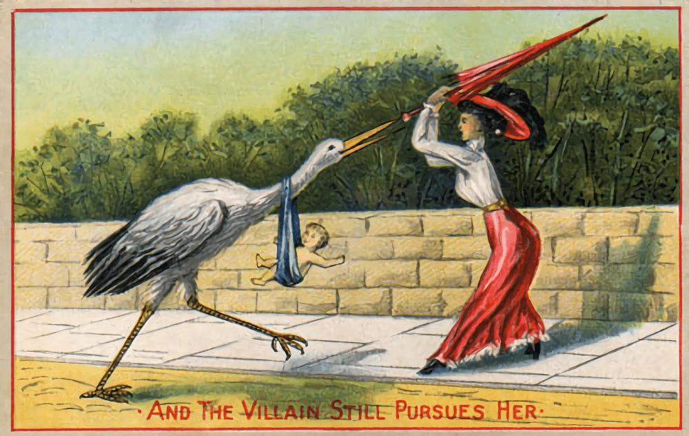 Карикатура початку XX ст. Жінка відбивається від лелеки, що приніс їй дитину.